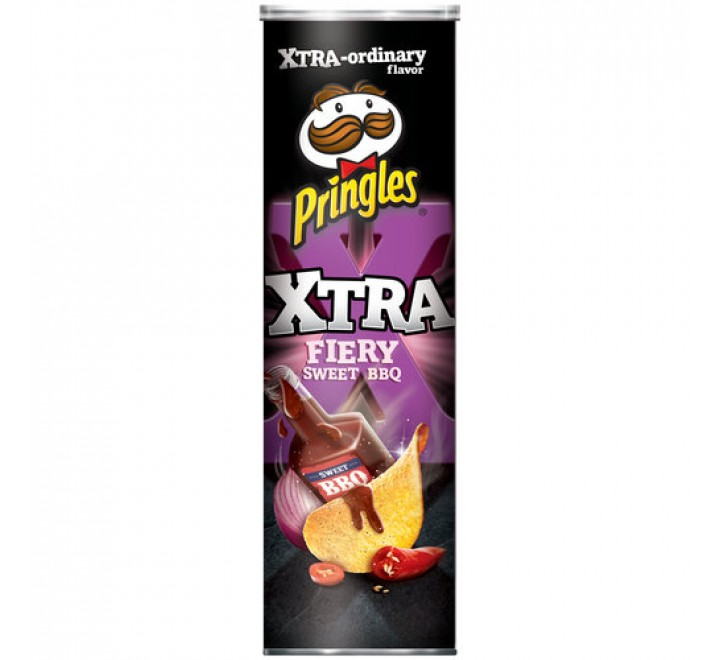 Pringles Xtra Fiery Sweet BBQ Potato Crisps (169g)