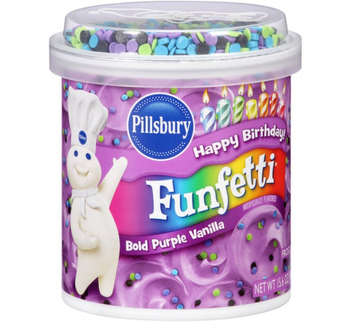 Pillsbury Happy Birthday Funfetti Bold Purple Vanilla Frosting