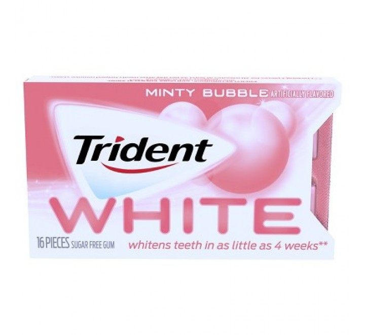 Trident White Minty Bubble Sugar Free Gum - 16ct