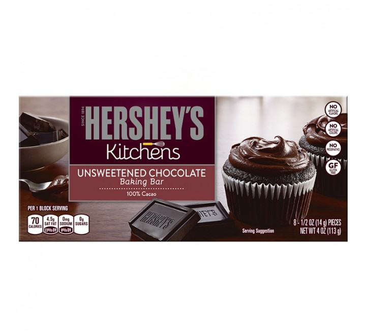 Hershey's Kitchens Unsweetened Chocolate Baking Bar (113g)