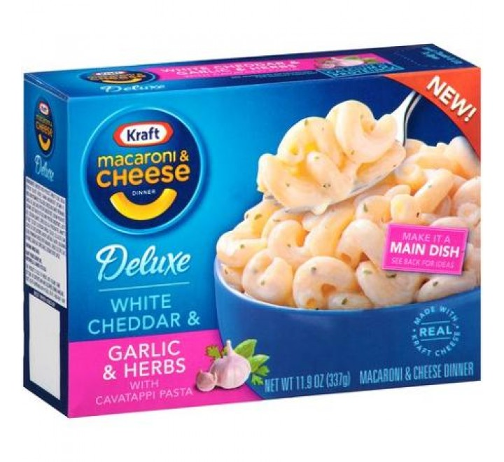 Kraft Deluxe  White Cheddar, Garlic & Herbs Macaroni & Cheese Dinner (337g)